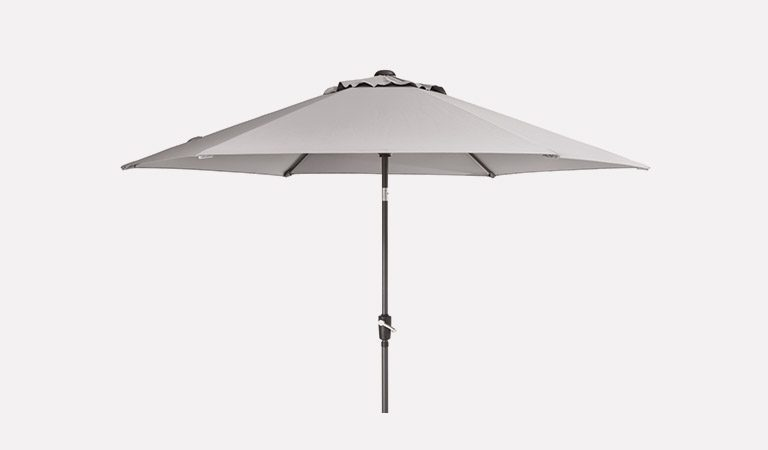 The 3m Wind-Up Parasol in French Grey on a grey background.