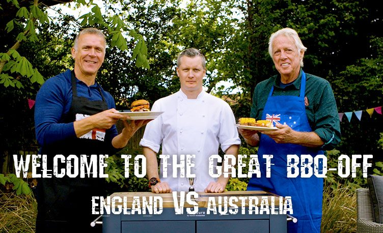 Cricketers Jeff Thomson and Alec Stewart with Fat Duck chef, Ashley Hatton, holding up their plate of grilled food.
