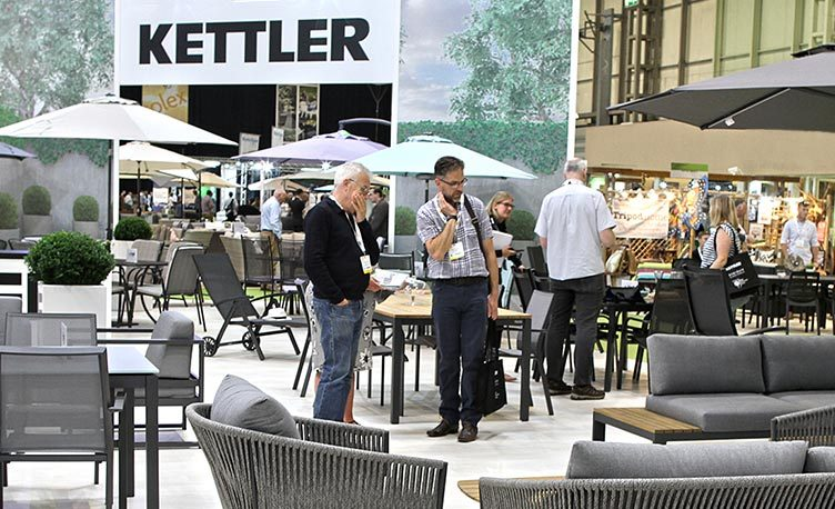 Buyers from our retailers looking at garden furniture from the Kettler range at Solex.