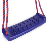 Blue seat with ropes for a Kettler swing on a white background.